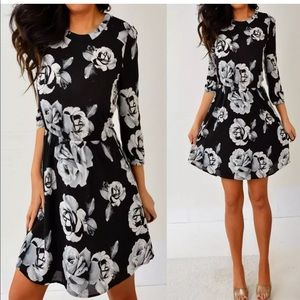 Forever 21 Black Gray Floral A Line Dress S Small